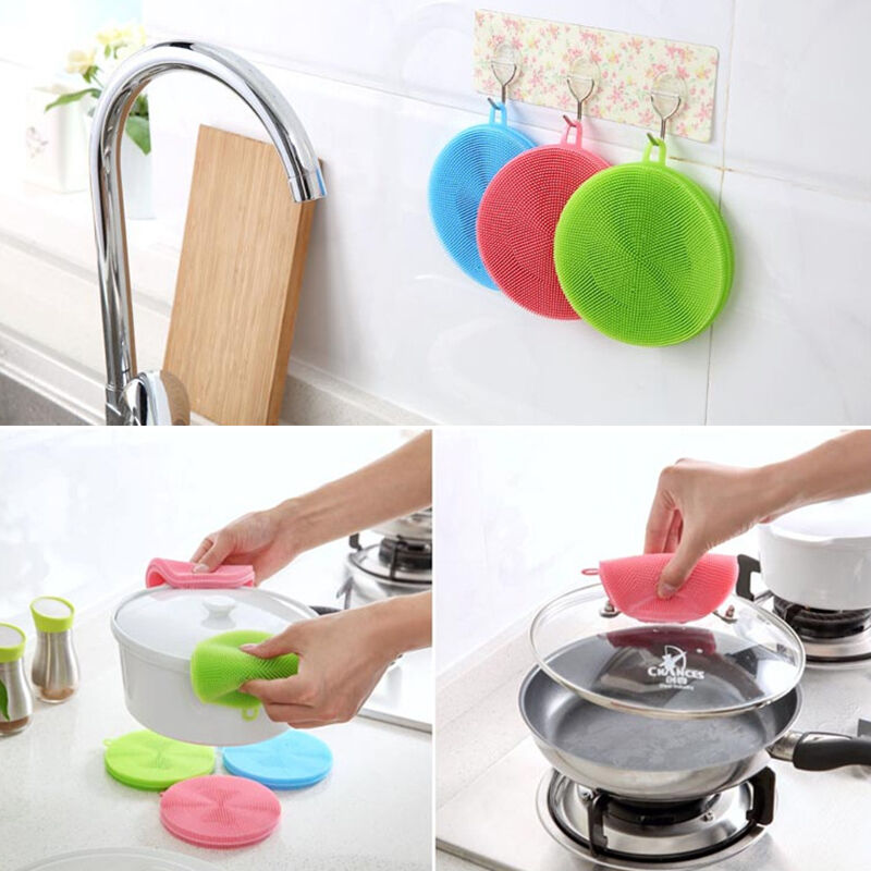 Srubby For Kitchen: Silicone Dish Washing Sponge Scrubber Kitchen Cleaning