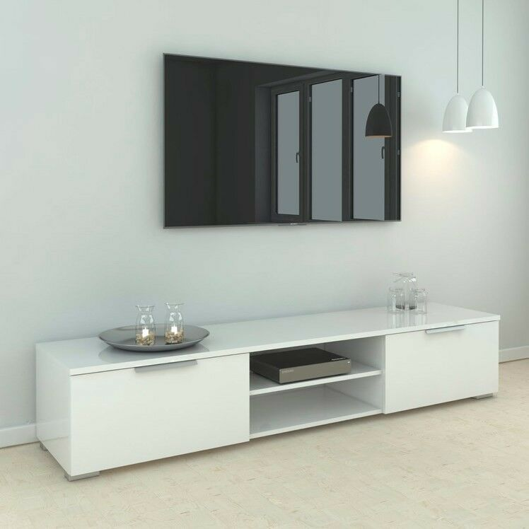 Tvilum Match Wood Tv Stand In White High Gloss With Two