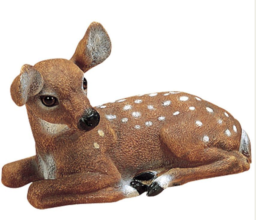 Fawn baby deer outdoor garden statue animal lawn decor ebay for Lawn and garden decorative accessories