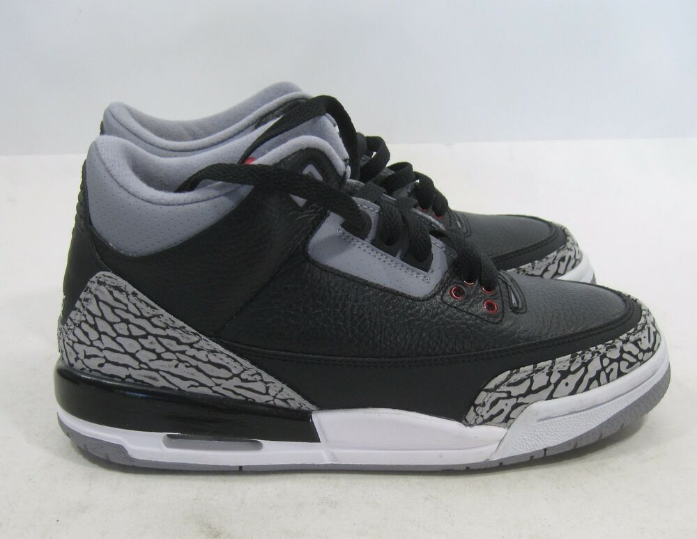 Details about Nike Air Jordan 3 Retro Black Cement True Blue Youth  398614-010 Size 6.5Y 53bc11d15