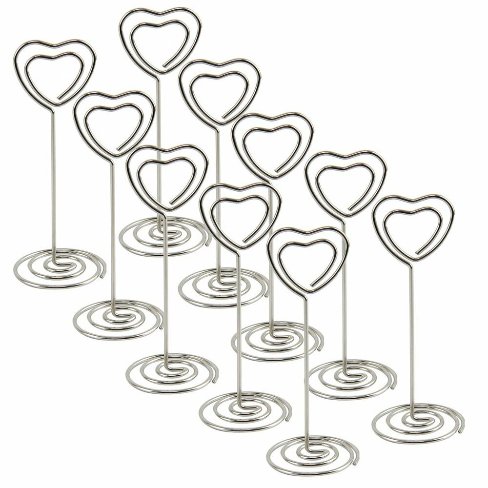 10 crystal heart place card name holders table number for Table number holders