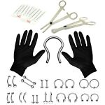 Professional Piercing Kit 36 Pieces Septum Retainer Tongue Eyebrow Nipple Lip