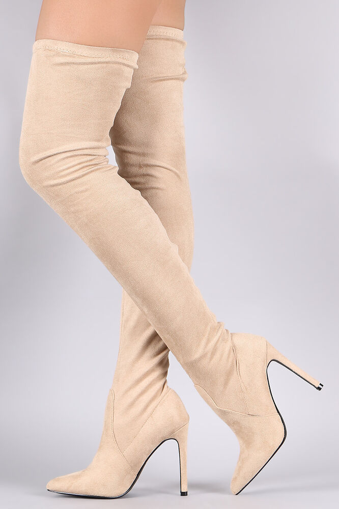 8b848c614f4 Details about So Me Stiletto Heel Pointy Toe FX Suede Stocking Over The Knee  Boot Nude Beige