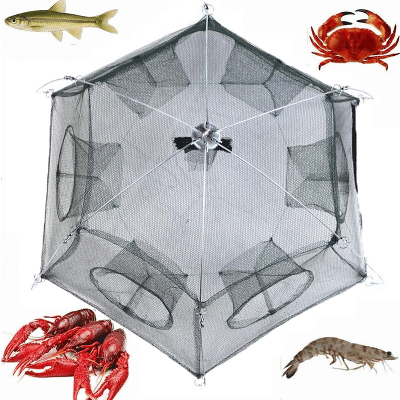 Fishing bait net trap cast dip cage crab fish minnow for Fish trap net
