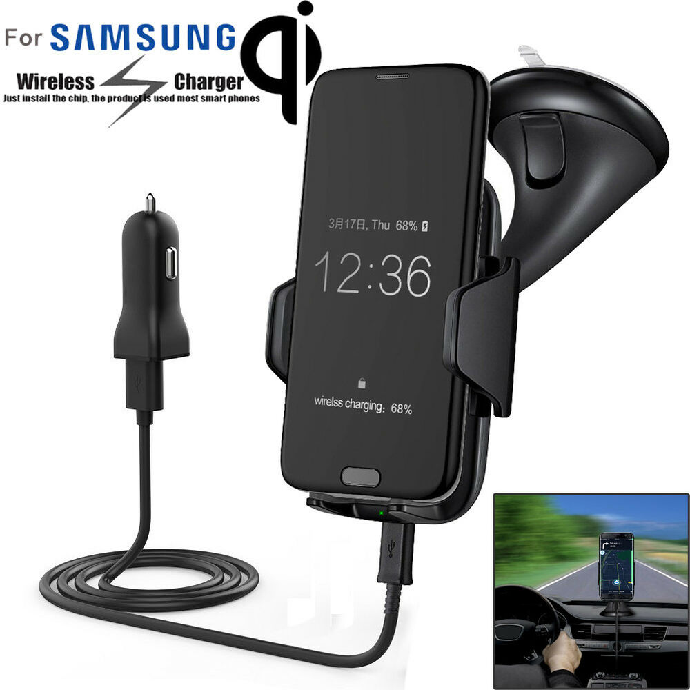 qi wireless charger dock car holder charging mount pad for samsung s7 s7 edge ebay. Black Bedroom Furniture Sets. Home Design Ideas