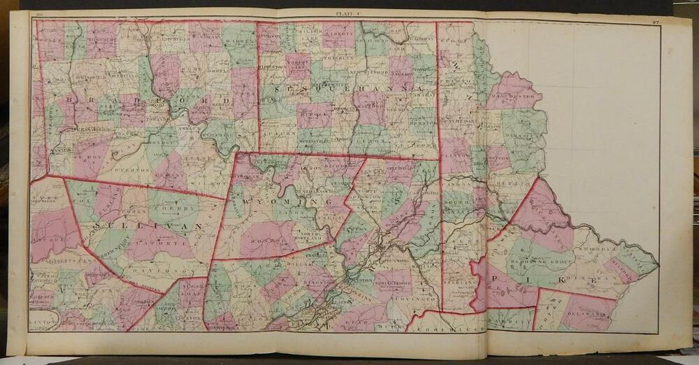 state of pennsylvania map  1874  north east section  tri fold  k1 53