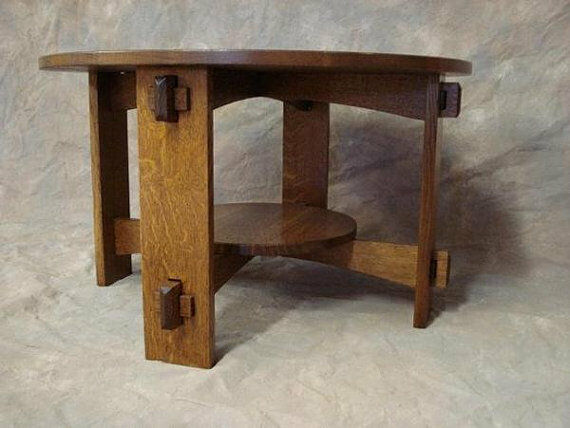 Round Quartersawn Oak Mission Wedged Tennon Coffee Table Limbert Style Free Sh Ebay
