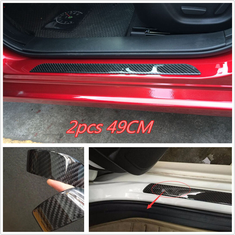 2x carbon fiber car scuff plate door sill cover panel step protector guard 49cm ebay. Black Bedroom Furniture Sets. Home Design Ideas