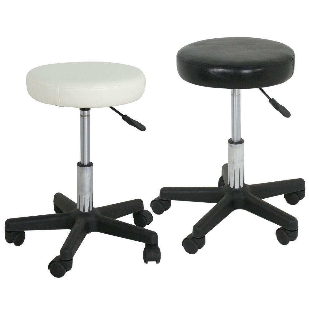 Black White Adjustable Tattoo Salon Stool Hydraulic
