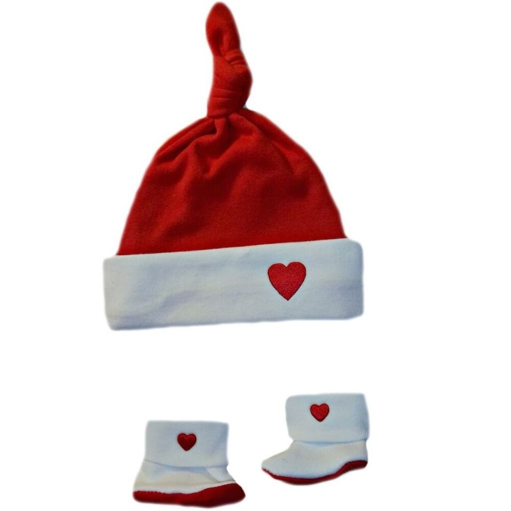 b6d6583b5010e Details about Red and White Heart Knotted Baby Hat Booties - 6 Preemie Newborn  Infant Sizes