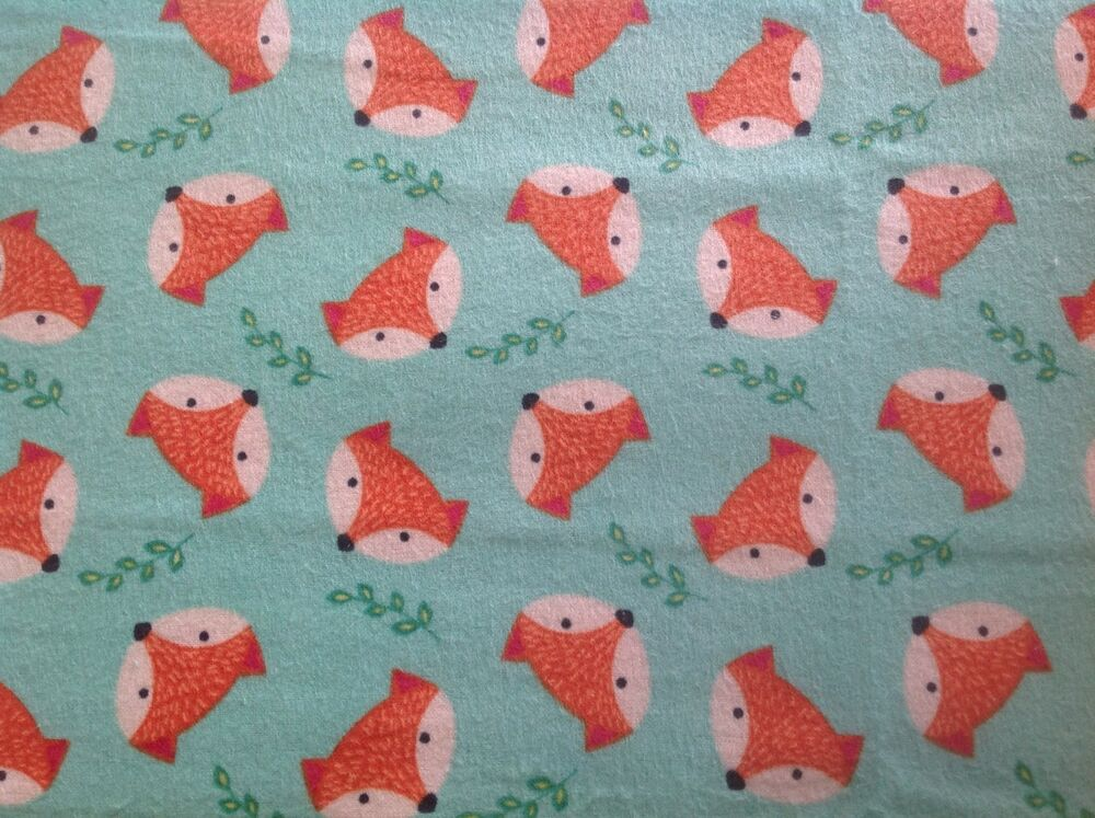 Flannel fox childrens quilting fabric flannelette mint for Wholesale childrens fabric