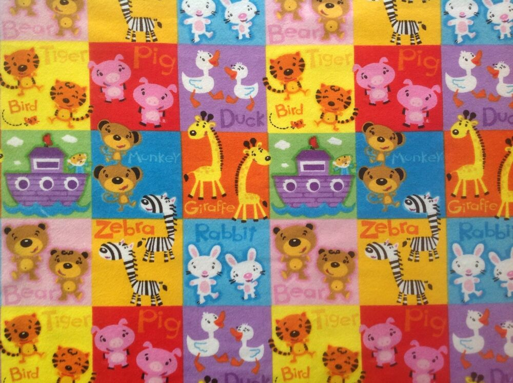 Flannel noahs ark animals bright childrens quilting for Bright childrens fabric