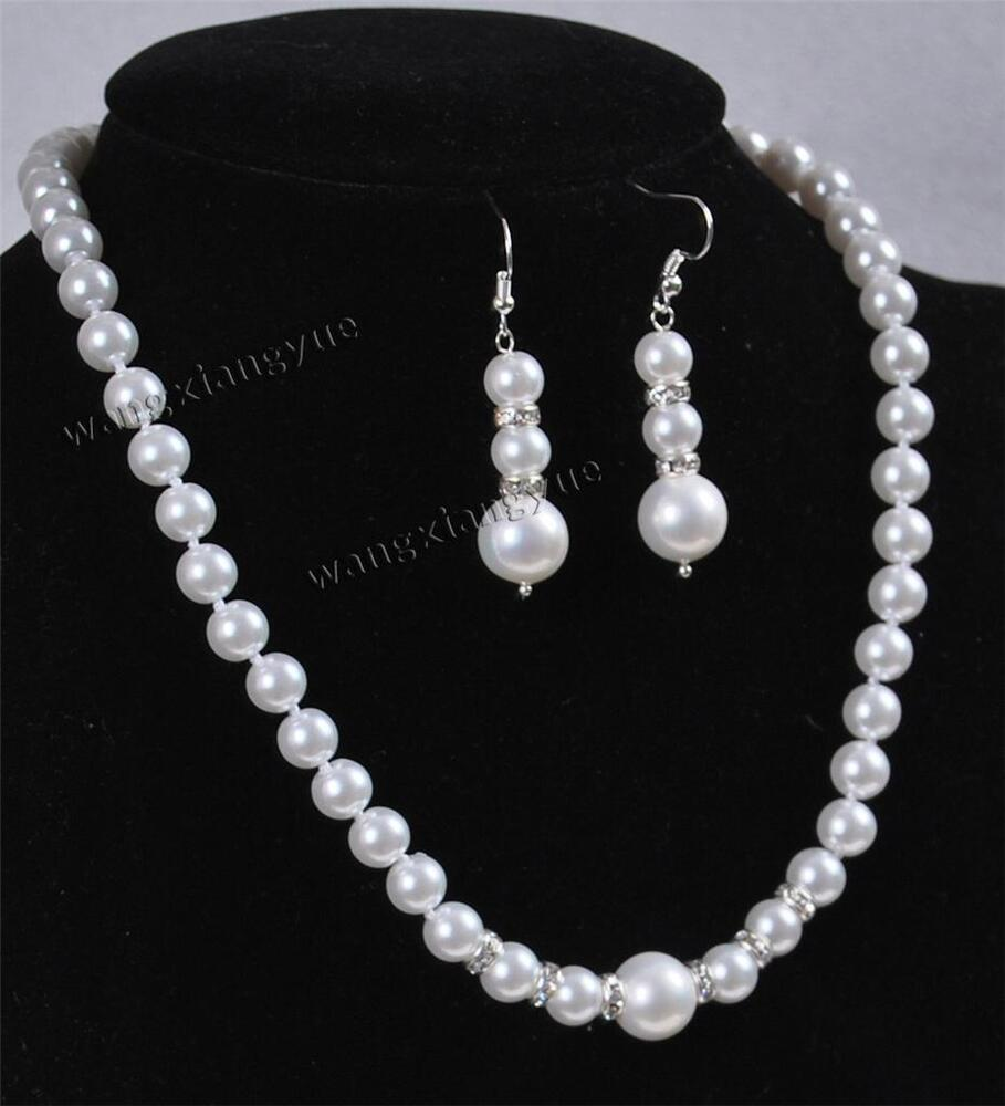 Pearl Necklace Akoya: 8-12MM White Akoya Shell Pearl Round Beads Necklace