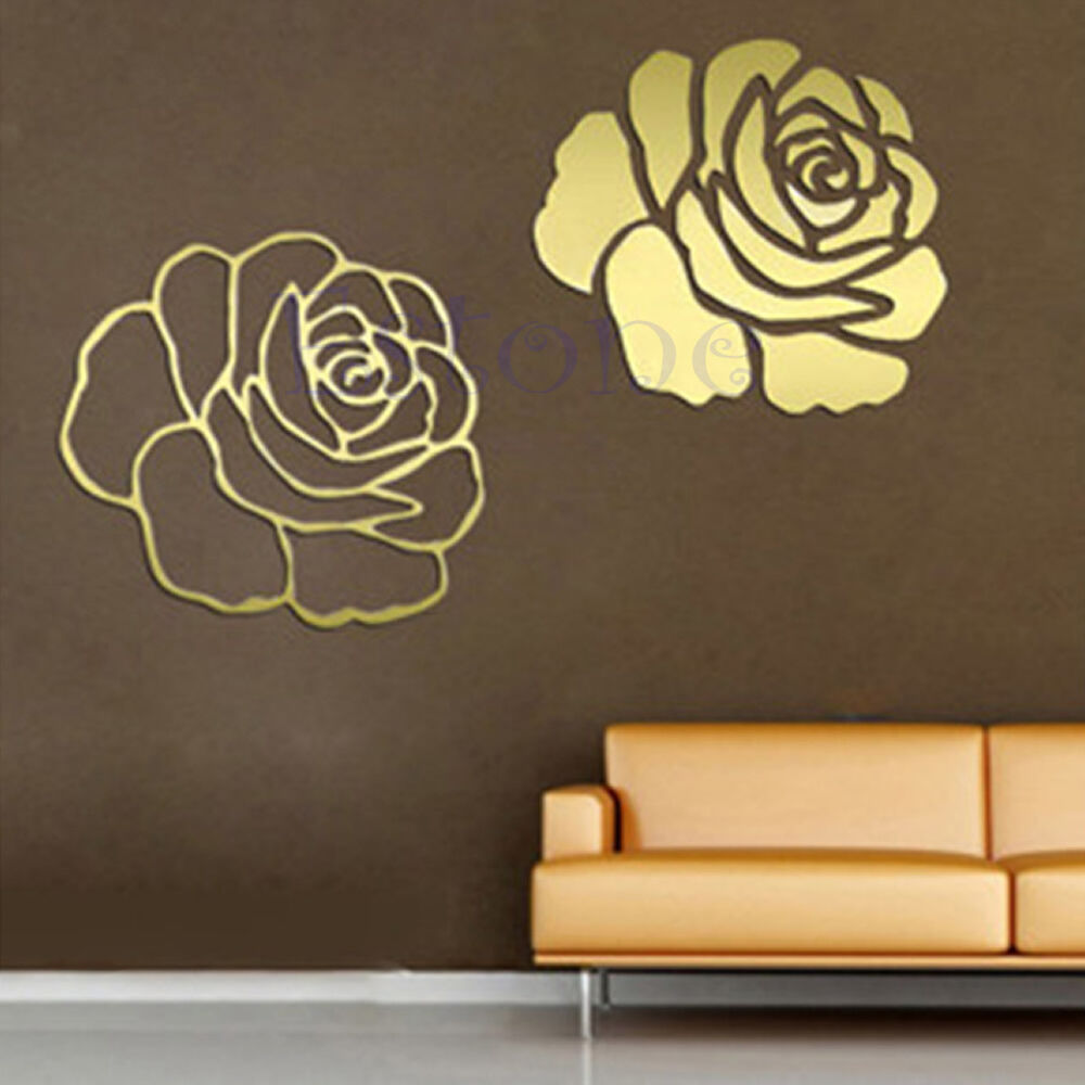 Rose flower mirror home wall stickers decor diy decal for Mirror stickers