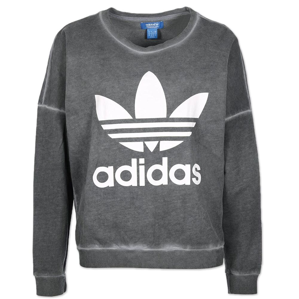 adidas originals damen washed crew trefoil sweatshirt pullover grau weiss ebay. Black Bedroom Furniture Sets. Home Design Ideas