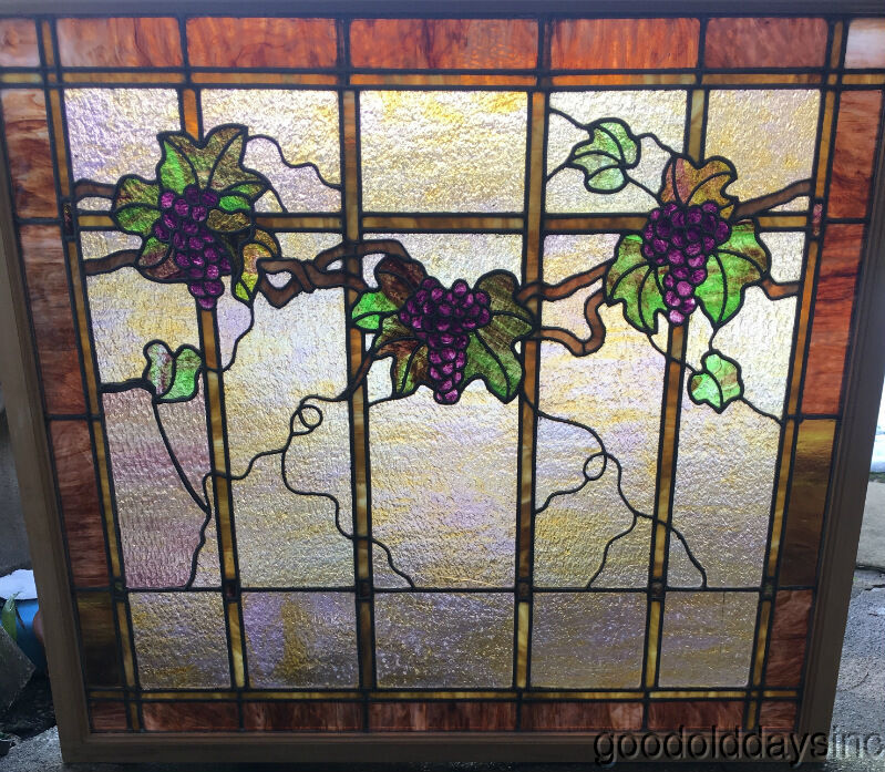 Large antique 1920 39 s stained leaded glass grape vine for 1920s window