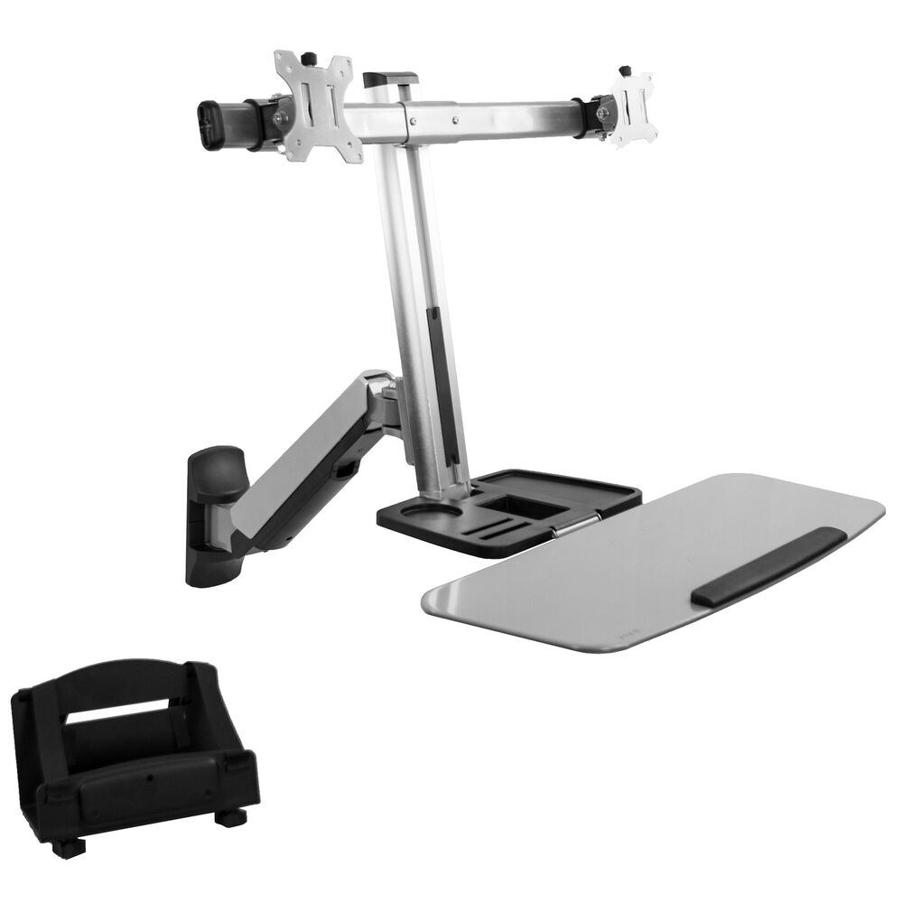 Dual Monitor Amp Keyboard Sit Stand Wall Mount Standing