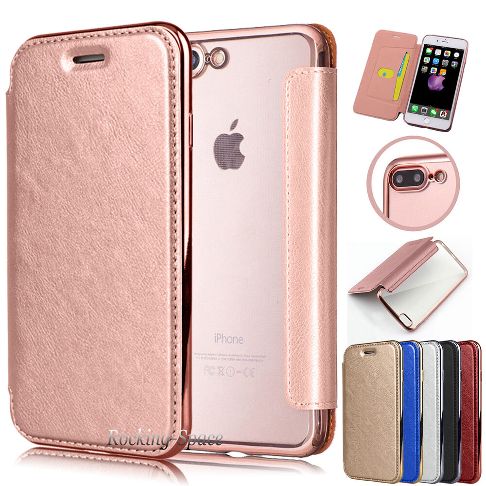 Luxury Pu Leather Clear Soft Tpu Back Wallet Flip Case Cover For