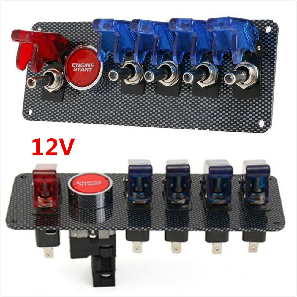 12v racing race car ignition switch 4 blue 1 red led toggle switch button panel ebay. Black Bedroom Furniture Sets. Home Design Ideas
