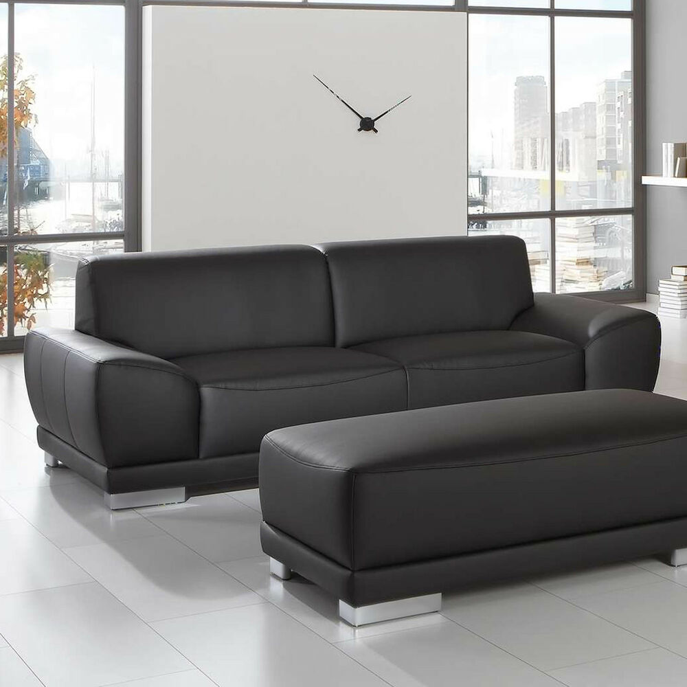 sofa manila 3 sitzer couch in schwarz mit federkern und vollschaum l nge 218 cm ebay. Black Bedroom Furniture Sets. Home Design Ideas