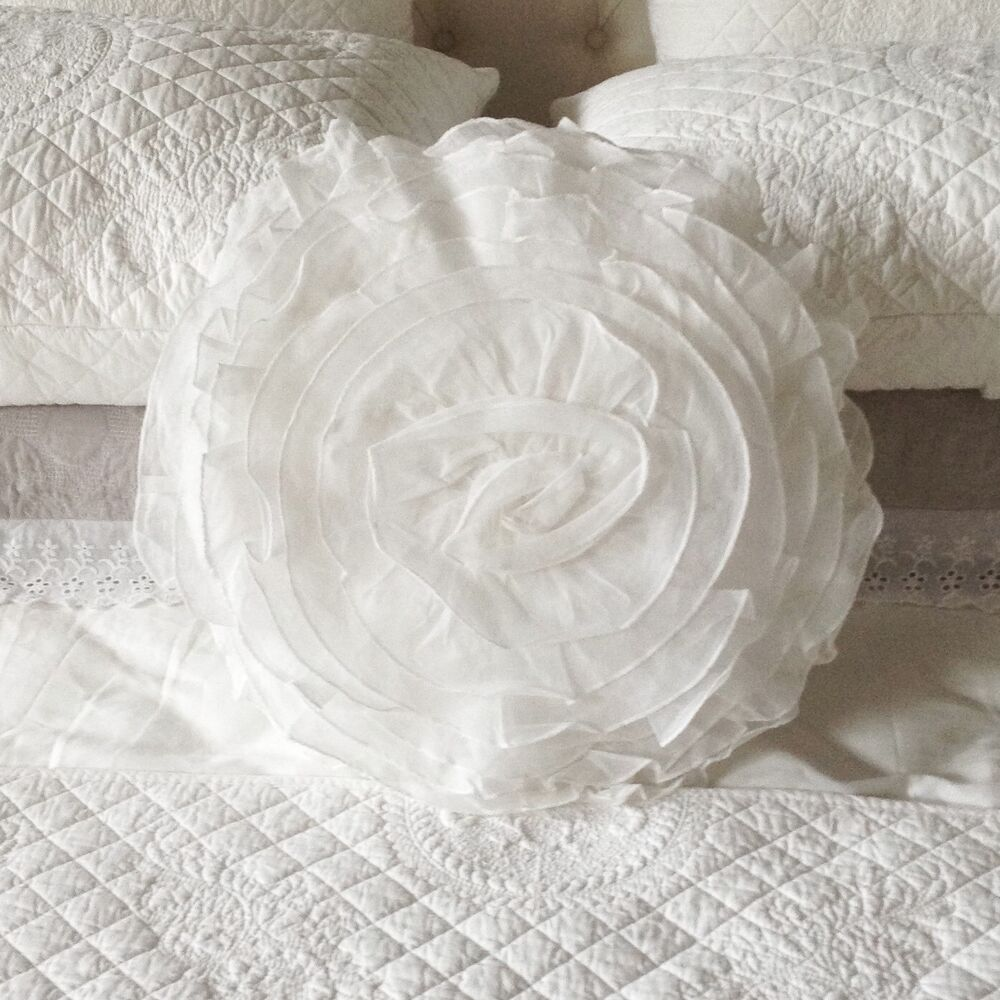 Shabby Chic Cushion Pillow Round Ruffle White Filled 45cm New eBay
