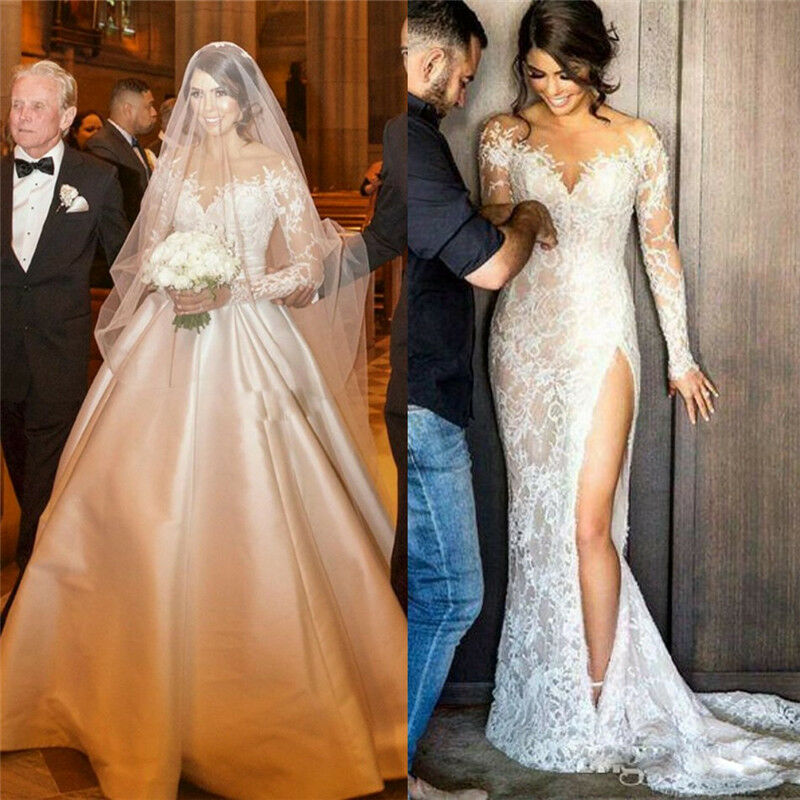 Wedding Dressing Gowns Personalised: Sexy Sheer Split Wedding Dresses With Detachable Train