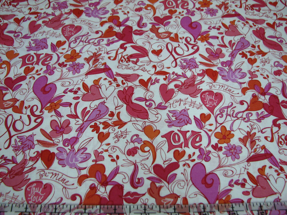 3 yards quilt cotton fabric quilting treasures xoxo love for Cotton quilting fabric