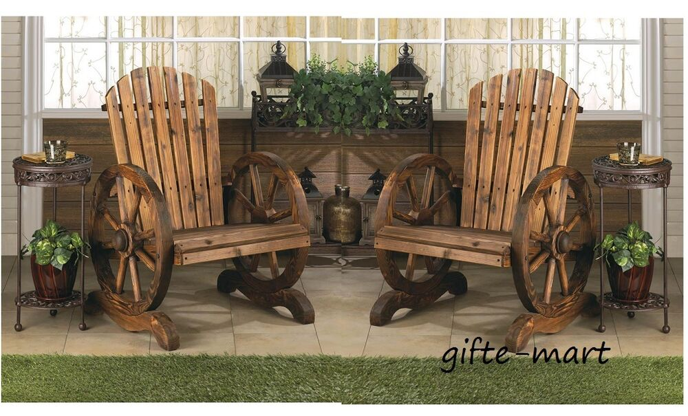 2 Rustic Wood Country Wagon Wheel Outdoor Patio Furniture