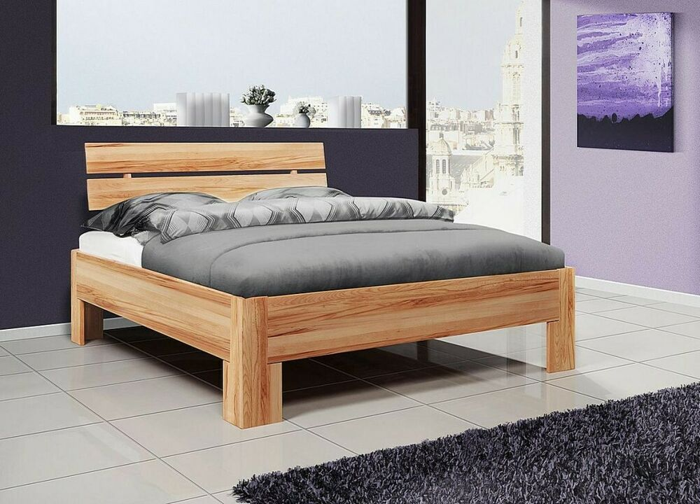 massivholz jugendbett 100x200 kernbuche ge lt einzelbett holz bett bettgestell ebay. Black Bedroom Furniture Sets. Home Design Ideas