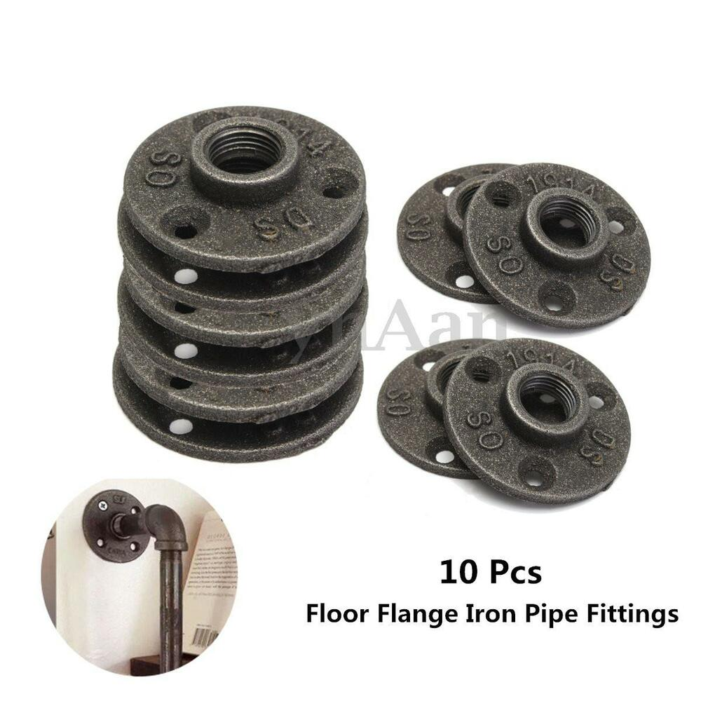 10pcs Malleable Iron Pipe Fittings Wall Floor Flange Rusty