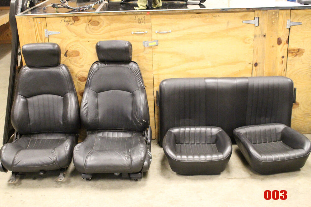 2000 2002 Firebird Trans Am Ebony Black Leather Seats Set F R Used Oem 003 Ebay