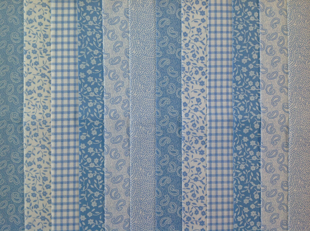 24 Jelly Roll Strips 100 Cotton Patchwork Fabric Blue 22