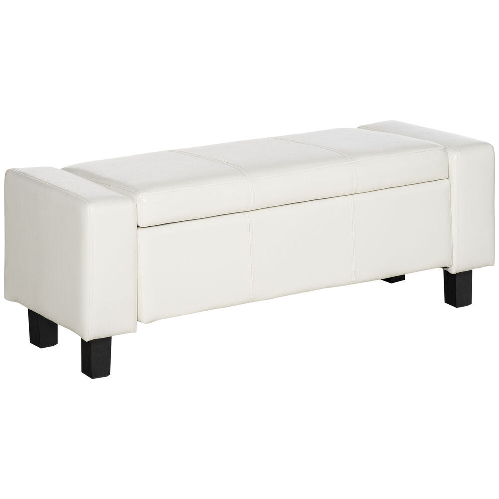 Homcom Bedroom Storage Bench Pu Leather Seat Ottoman