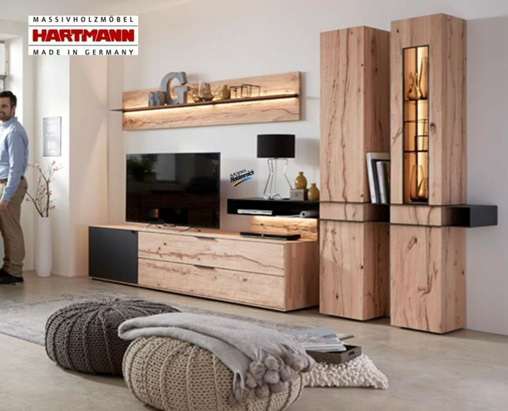 wohnwand anbauwand hartmann riffbuche massiv buche mattglas talis kombi 24 neu ebay. Black Bedroom Furniture Sets. Home Design Ideas
