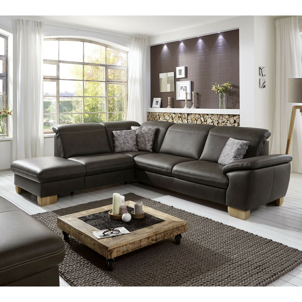 ecksofa raya wohnlandschaft bezug leder braun f e wildeiche inkl nosagfederung 4059236071823. Black Bedroom Furniture Sets. Home Design Ideas