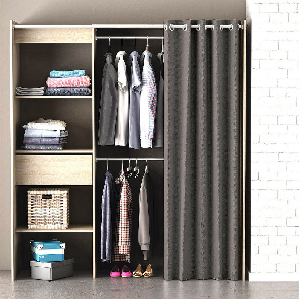 kleiderschrank chicago garderobe regal schrank sonoma eiche mit vorhang 3397701984560 ebay. Black Bedroom Furniture Sets. Home Design Ideas