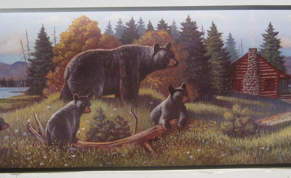 Black Bear With Cubs By The Cabin Wallpaper Border 9 Quot Ebay