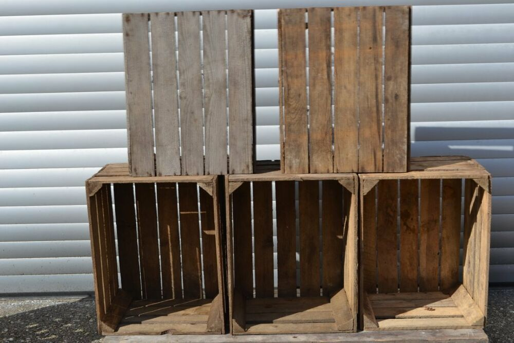 6 rustikale obstkisten apfelkisten holz weinkisten regal deko chic shabby ebay. Black Bedroom Furniture Sets. Home Design Ideas