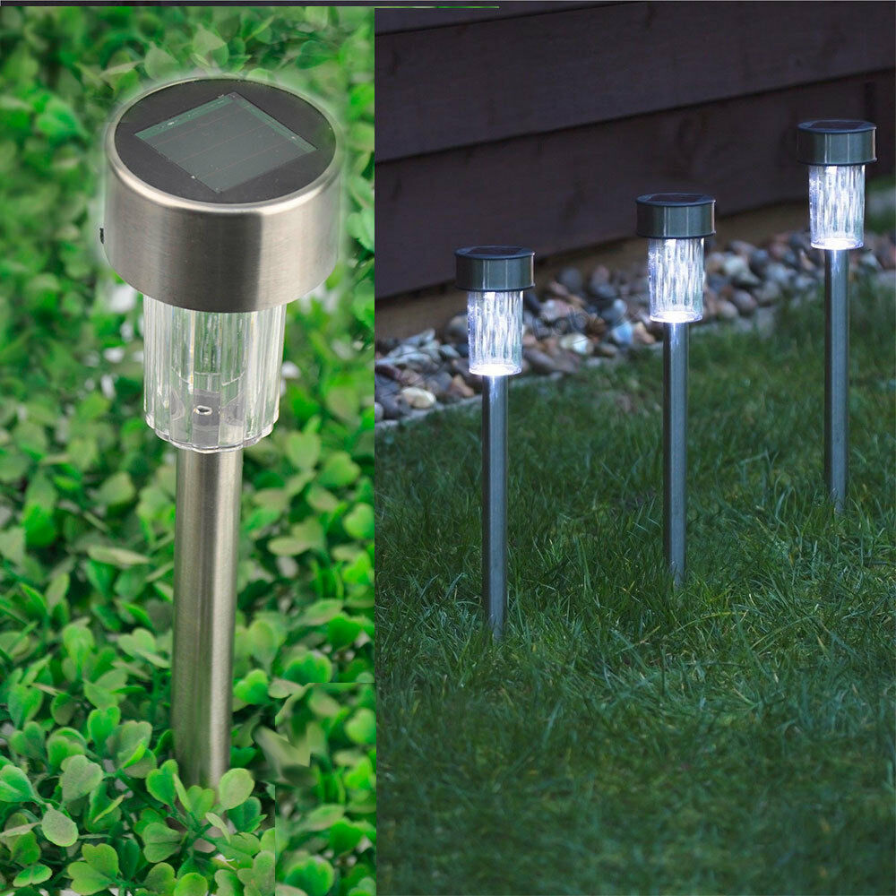 E27 Solar Battery Powered 22 Led Camping Light Outdoor: 10 X Solar Powered Stainless Steel LED Post Lights Garden