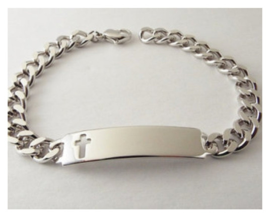 id bracelet mens personalized silver cross cutout speidel