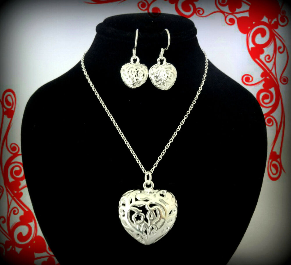 SILVER HEART CHARM NECKLACE EARRINGS SET VALENTINES DAY ...