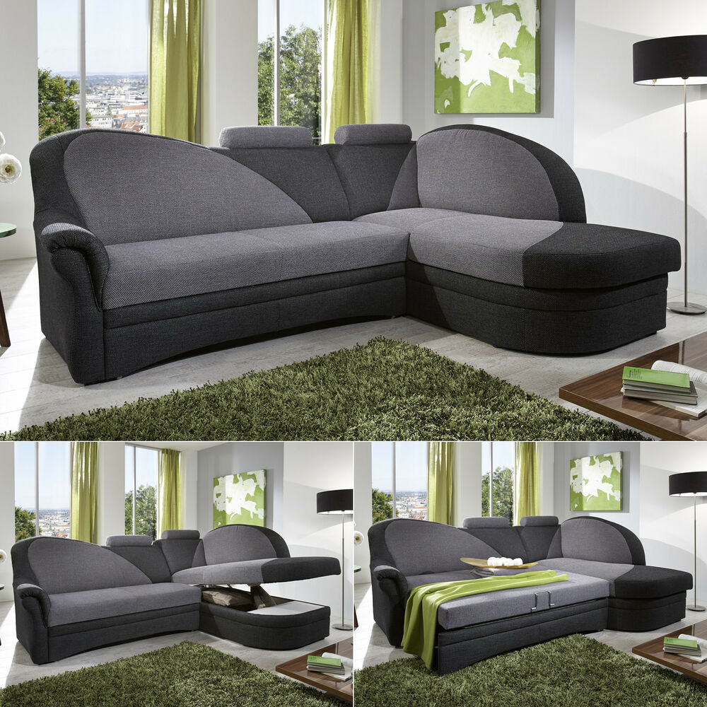 ecksofa helsinki in stoff anthrazit grau inkl schlaffunktion und bettkasten ebay. Black Bedroom Furniture Sets. Home Design Ideas