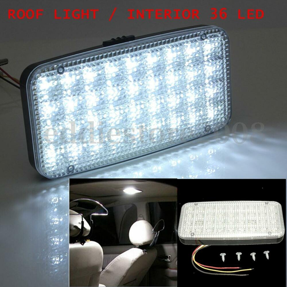 Car vehicle ceiling dome roof interior light white 12v 36 led reading cabin lamp ebay for Led car interior lights ebay