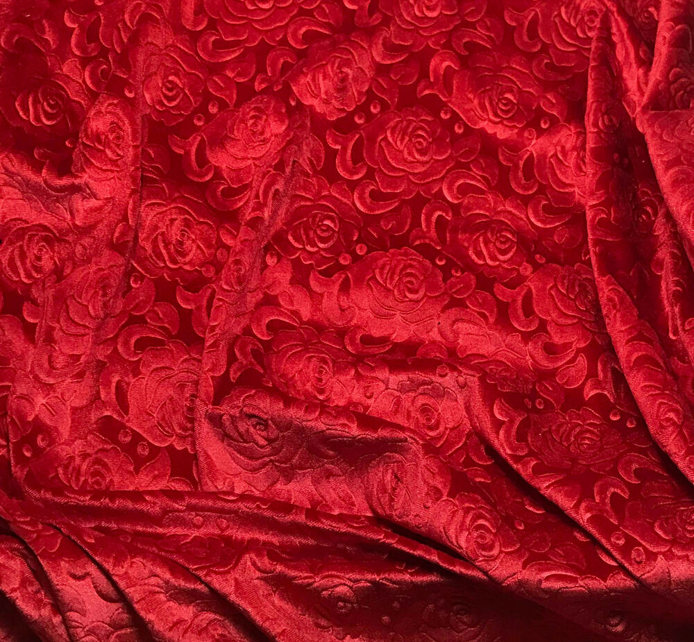 Scarlet Red Roses Embossed Velvet Fabric 54 Quot By The