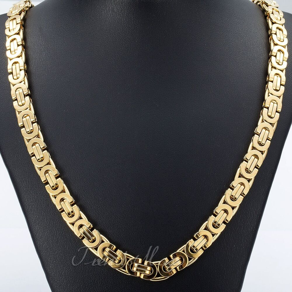 Mens Gold Byzantine Necklace: 11mm Mens Chain Flat Byzantine Link Gold Tone Stainless