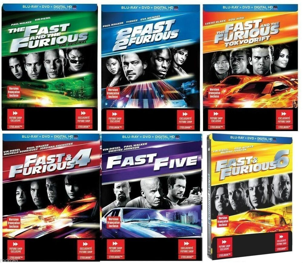 the fast furious 1 2 3 4 5 6 steelbook collection blu ray dvd digital ebay. Black Bedroom Furniture Sets. Home Design Ideas