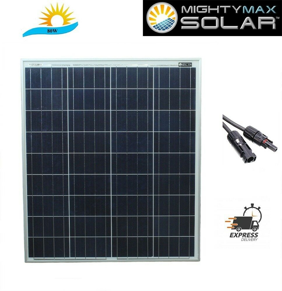 Mighty Max 80 Watts Solar Panel 12v Poly Battery Charger