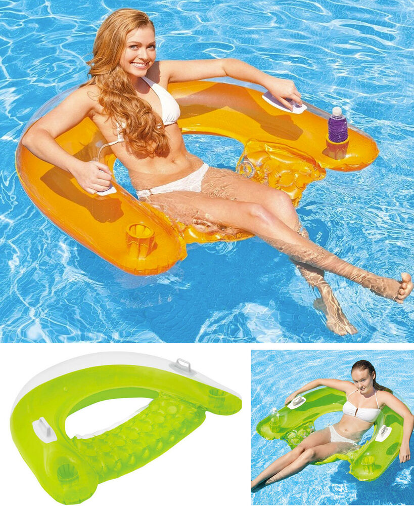 Intex inflatable 60 sit n float swimming pool beach chair lilo lounger air mat ebay for Inflatable swimming pool buy online india