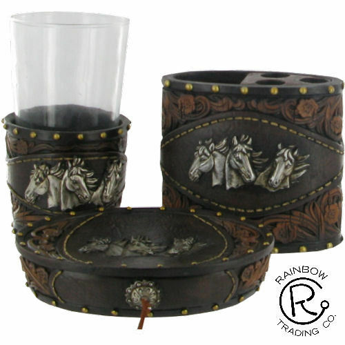 Horse tooled leather look bathroom set accessories western for Looking for bathroom accessories