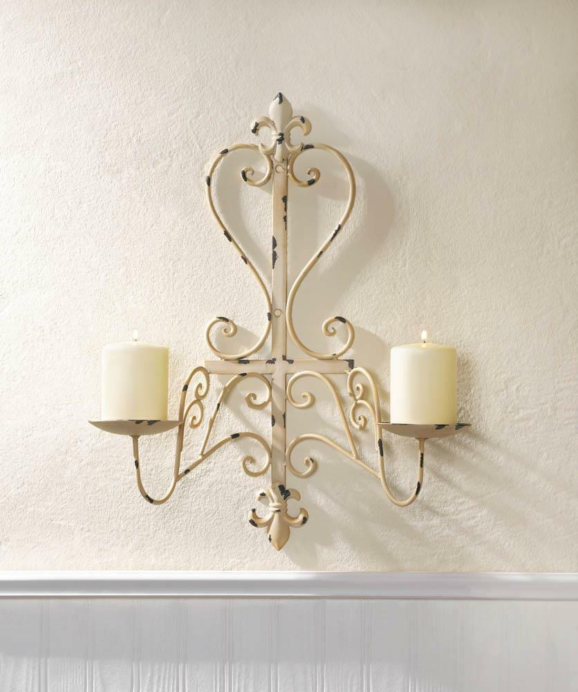 antiqued white ivory shabby distressed iron candelabra ... on Iron Wall Sconces For Candles id=31721